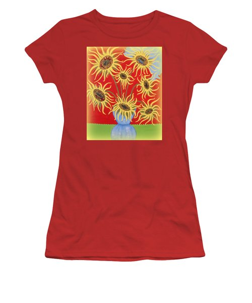 Sunflowers On Red Women's T-Shirt (Athletic Fit)