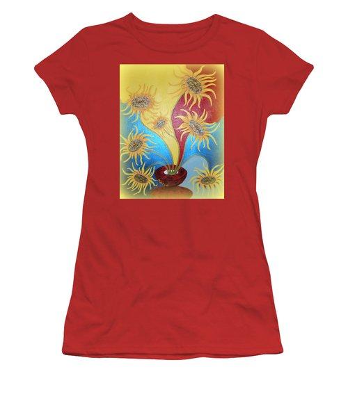 Sunflowers Symphony Women's T-Shirt (Junior Cut) by Marie Schwarzer