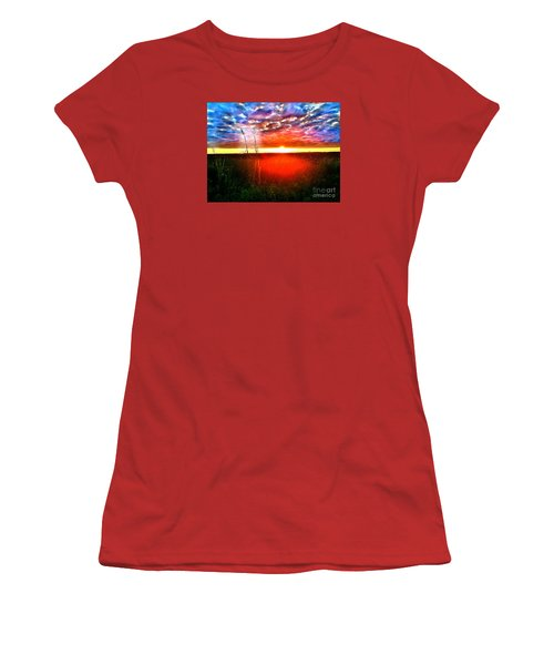 Women's T-Shirt (Junior Cut) featuring the painting Sunset by Amy Sorrell