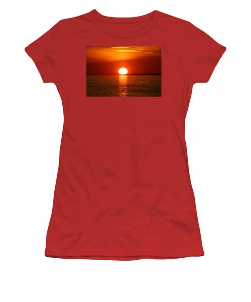 Women's T-Shirt (Junior Cut) featuring the photograph Sunset On Superior by Paula Brown