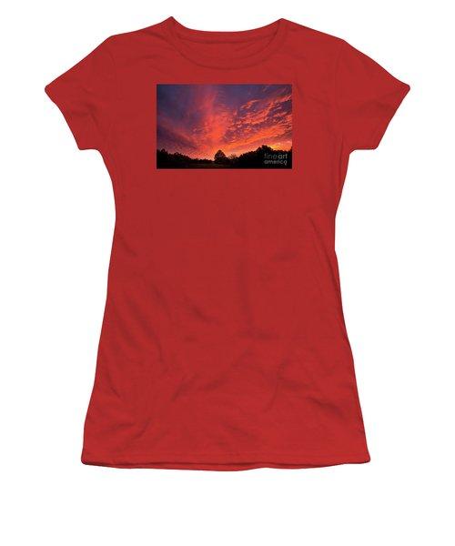 Sunset Over A Maine Farm Women's T-Shirt (Junior Cut) by Alana Ranney