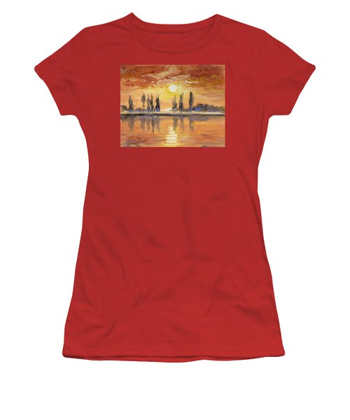 Sunset Over The Lake Women's T-Shirt (Junior Cut) by Irek Szelag