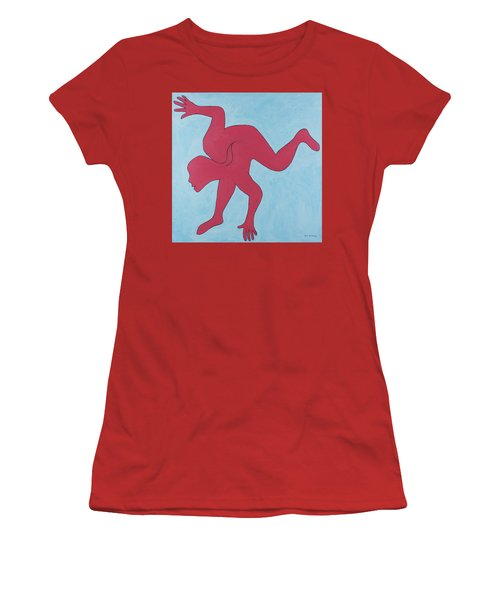 Women's T-Shirt (Athletic Fit) featuring the painting Sunset Surfer by Ben Gertsberg