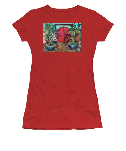 Women's T-Shirt (Junior Cut) featuring the painting Tecate Garden Gate by Diane McClary