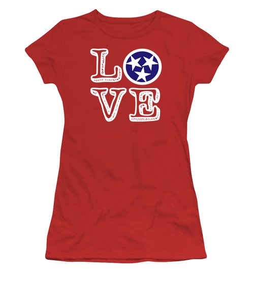 Women's T-Shirt (Junior Cut) featuring the digital art Tennessee Flag Love by Heather Applegate