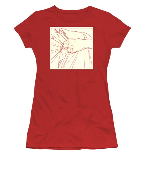Women's T-Shirt (Athletic Fit) featuring the drawing Tenth Station- Jesus Is Stripped Of His Garments by William Hart McNichols