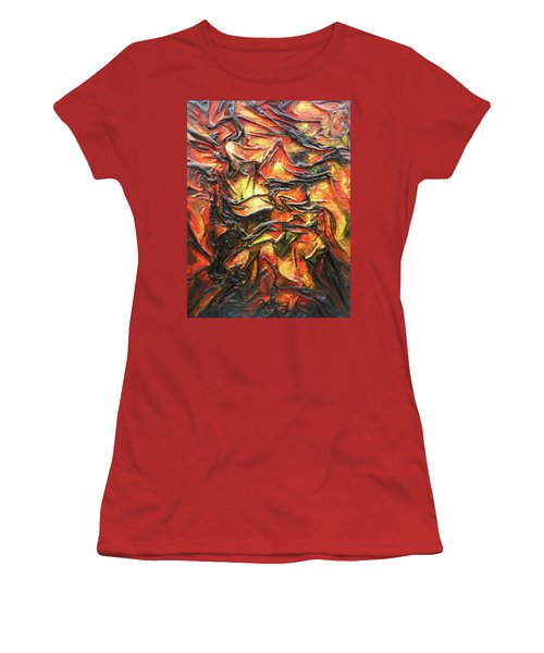 Women's T-Shirt (Junior Cut) featuring the mixed media Texture Of Fire by Angela Stout