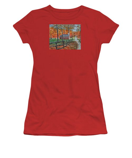 The Brick Country Schoolhouse Women's T-Shirt (Junior Cut) by Mike Caitham
