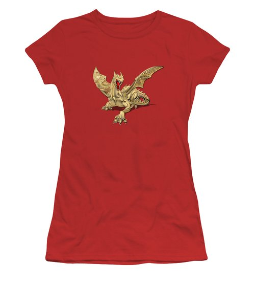 The Great Dragon Spirits - Golden Guardian Dragon On Red And Black Canvas Women's T-Shirt (Athletic Fit)