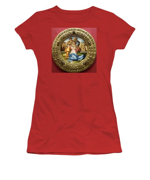 The Holy Family - Doni Tondo - Michelangelo - Round Canvas Version Women's T-Shirt (Athletic Fit)