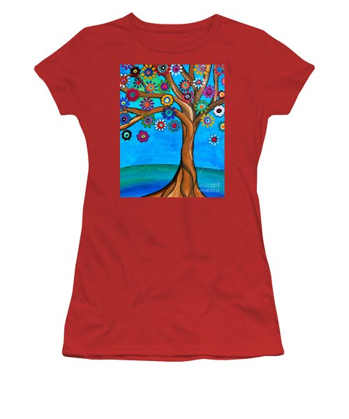 Women's T-Shirt (Athletic Fit) featuring the painting The Loving Tree Of Life by Pristine Cartera Turkus