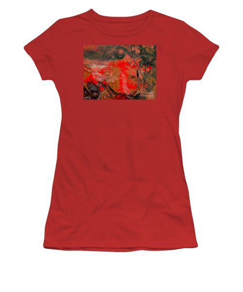 Women's T-Shirt (Junior Cut) featuring the painting The Red Garden by Nancy Kane Chapman