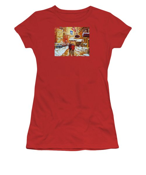 Women's T-Shirt (Junior Cut) featuring the painting The Ritz Carlton by Carole Spandau