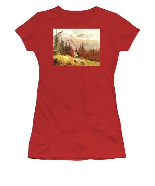 Women's T-Shirt (Junior Cut) featuring the painting The Scout by Alan Lakin