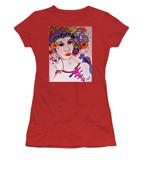 Women's T-Shirt (Junior Cut) featuring the painting The Songbird by Alison Caltrider