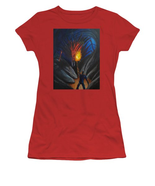 The Thing In The Cave Women's T-Shirt (Junior Cut) by Chris Benice