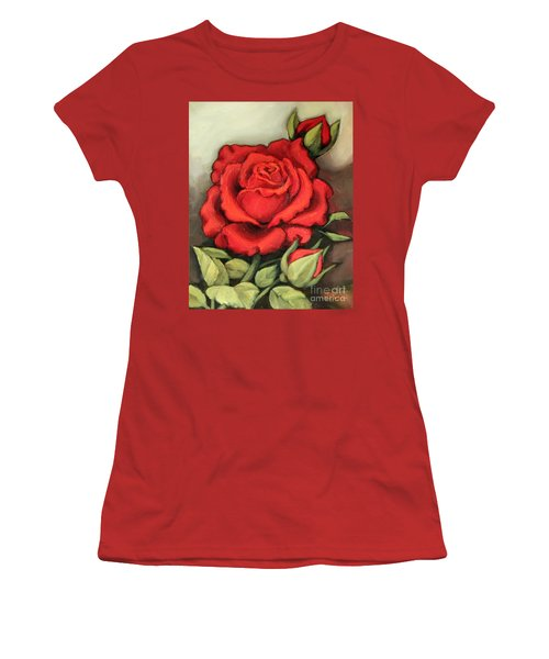 Women's T-Shirt (Junior Cut) featuring the painting The Very Red Rose by Inese Poga