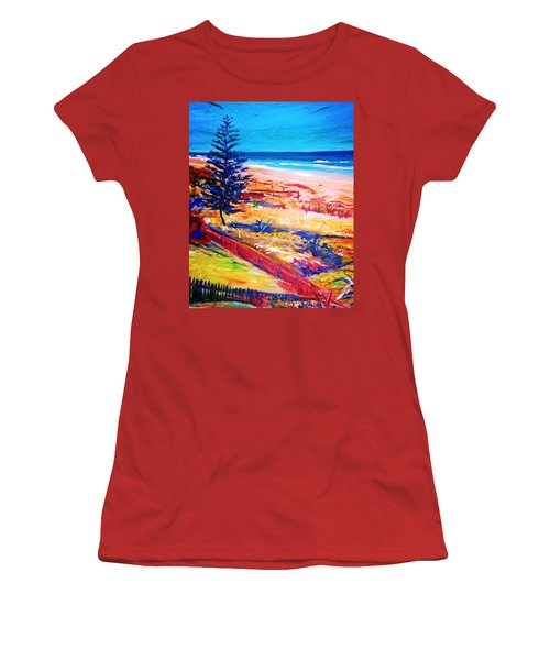 Women's T-Shirt (Junior Cut) featuring the painting The Winter Dunes by Winsome Gunning