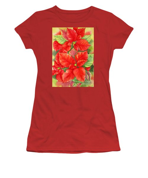 Women's T-Shirt (Junior Cut) featuring the painting This Year's Poinsettia 1 by Inese Poga