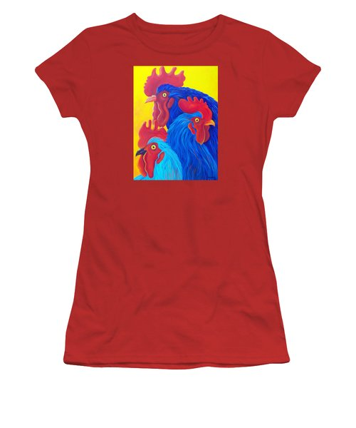Women's T-Shirt (Junior Cut) featuring the painting Three's A Crowd by Susan DeLain