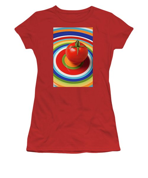 Tomato On Plate With Circles Women's T-Shirt (Athletic Fit)