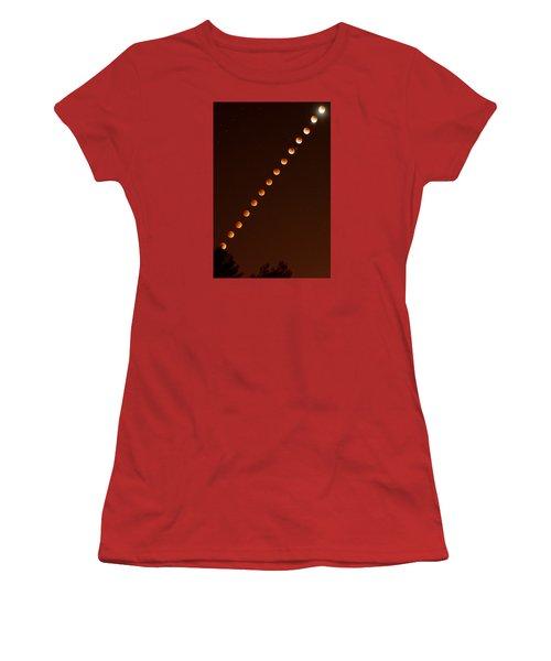 Total Lunar Eclipse September 27 2015 Women's T-Shirt (Junior Cut) by Brian Lockett