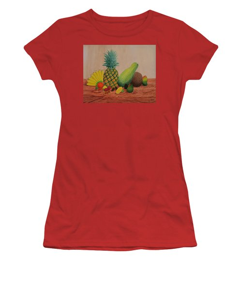 Women's T-Shirt (Junior Cut) featuring the painting Tropical Fruits by Hilda and Jose Garrancho