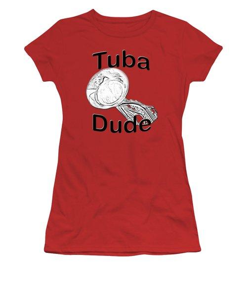 Tuba Dude Women's T-Shirt (Junior Cut) by M K  Miller
