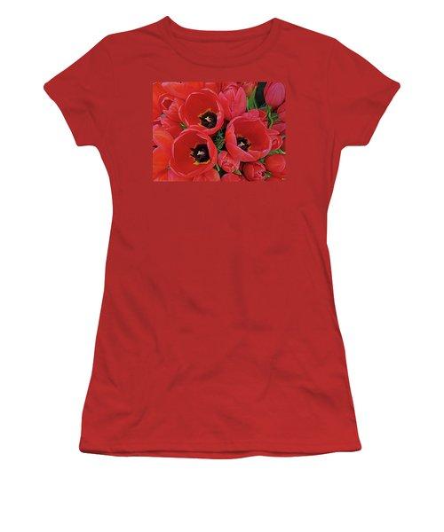 Tulip Parade Women's T-Shirt (Junior Cut) by Suzy Piatt