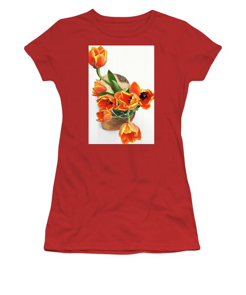 Women's T-Shirt (Junior Cut) featuring the pyrography Tulips by Stephanie Frey