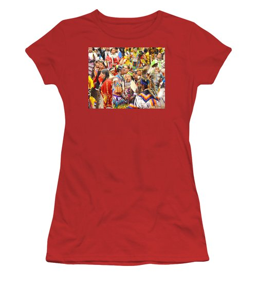 Women's T-Shirt (Junior Cut) featuring the photograph Tweens At Grand Entry by Clarice  Lakota