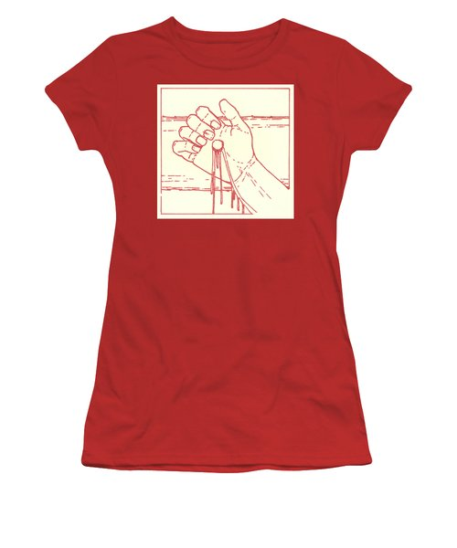 Women's T-Shirt (Athletic Fit) featuring the drawing Twelfth Station- Jesus Is Raised Upon The Cross And Dies  by William Hart McNichols