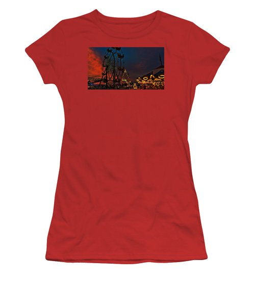 Women's T-Shirt (Junior Cut) featuring the photograph Twilight On The Midway  by John Harding