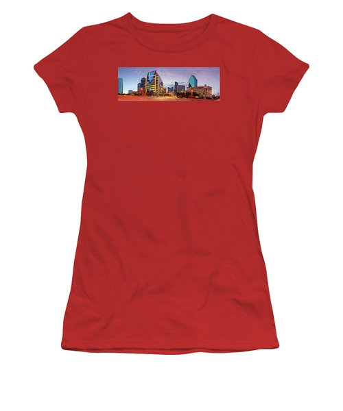 Twilight Panorama Of Downtown Dallas Skyline - North Akard Street Dallas Texas Women's T-Shirt (Athletic Fit)