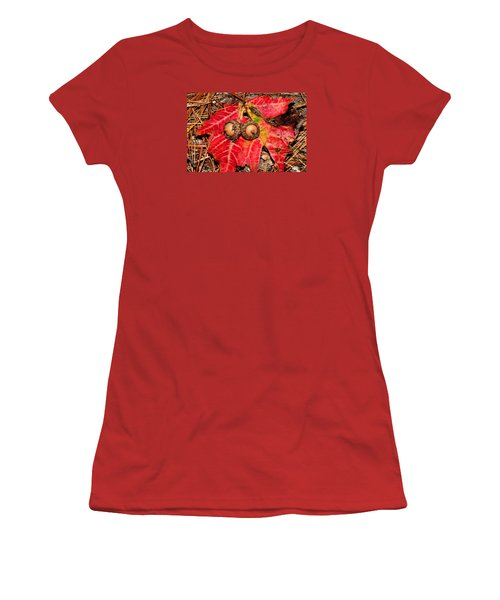 Two Acorns On Tatterd Maple Leaf Women's T-Shirt (Athletic Fit)
