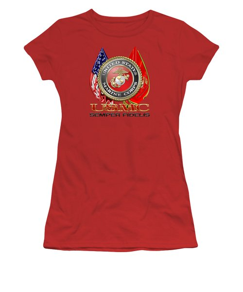 U. S. Marine Corps U S M C Emblem On Red Women's T-Shirt (Junior Cut) by Serge Averbukh