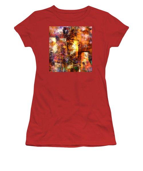 Women's T-Shirt (Junior Cut) featuring the mixed media Urban #4 by Kim Gauge