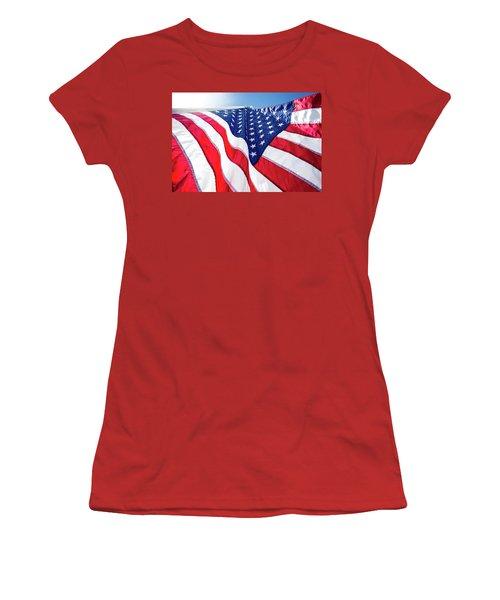 Usa,american Flag,rhe Symbolic Of Liberty,freedom,patriotic,hono Women's T-Shirt (Junior Cut) by Jingjits Photography