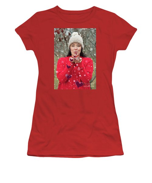 Women's T-Shirt (Junior Cut) featuring the photograph Valentines Kisses... by Nina Stavlund