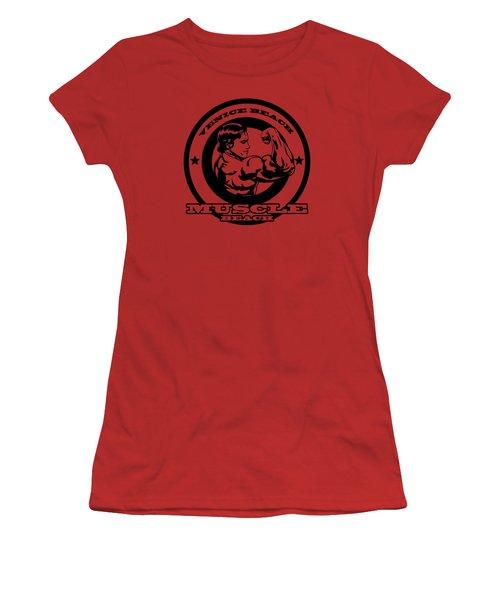 Venice Beach Arnold Muscle Women's T-Shirt (Junior Cut) by Alex Soro