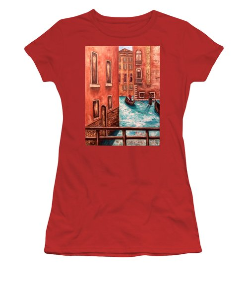 Women's T-Shirt (Junior Cut) featuring the painting Venice by Annamarie Sidella-Felts