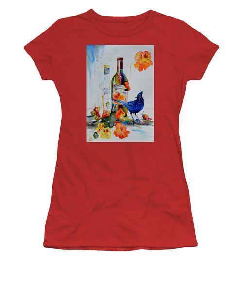 Still Life With Steller's Jay Women's T-Shirt (Junior Cut) by Beverley Harper Tinsley