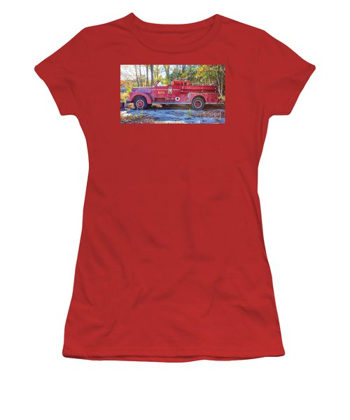 Women's T-Shirt (Athletic Fit) featuring the photograph Vintage Fire Truck South Weare New Hampshire by Edward Fielding