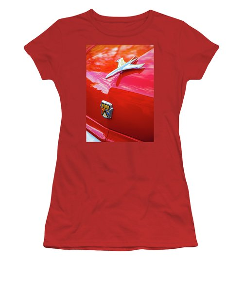 Women's T-Shirt (Athletic Fit) featuring the photograph Vintage Ford Hood Ornament Havana Cuba by Charles Harden