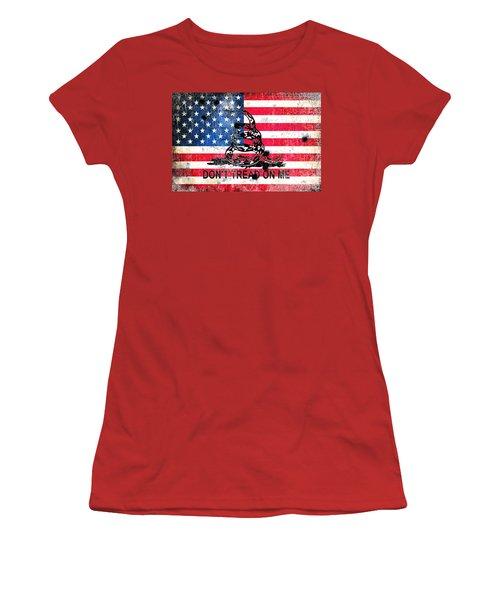 Viper N Bullet Holes On Old Glory Women's T-Shirt (Junior Cut) by M L C