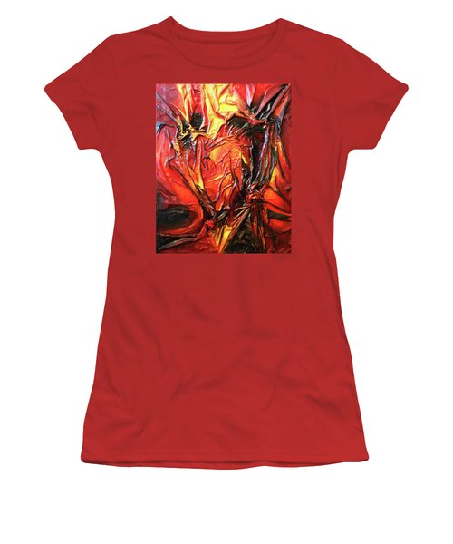 Women's T-Shirt (Junior Cut) featuring the mixed media Volcanic Fire by Angela Stout