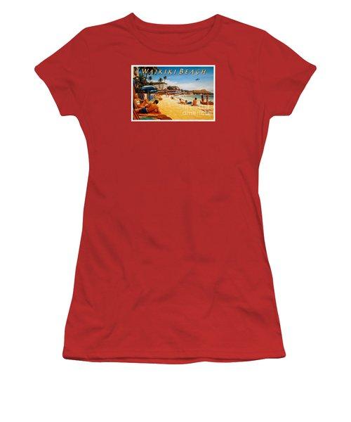 Waikiki Beach Women's T-Shirt (Junior Cut) by Nostalgic Prints
