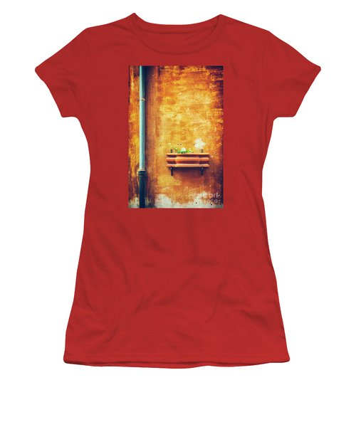Women's T-Shirt (Athletic Fit) featuring the photograph Wall Gutter Vase by Silvia Ganora