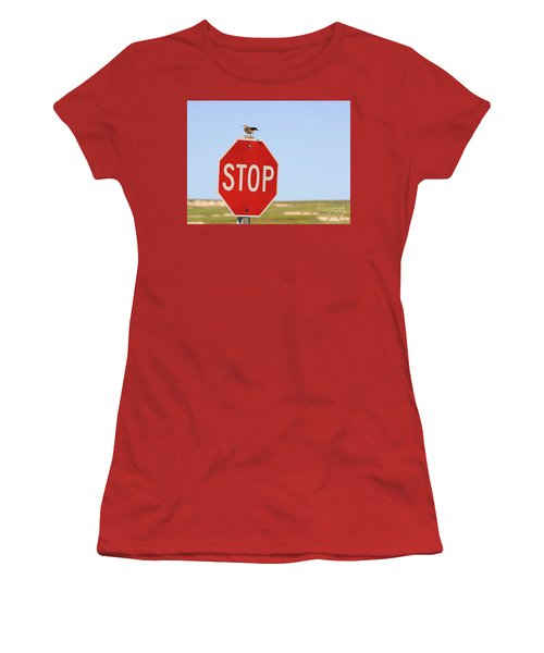 Western Meadowlark Singing On Top Of A Stop Sign Women's T-Shirt (Junior Cut) by Louise Heusinkveld