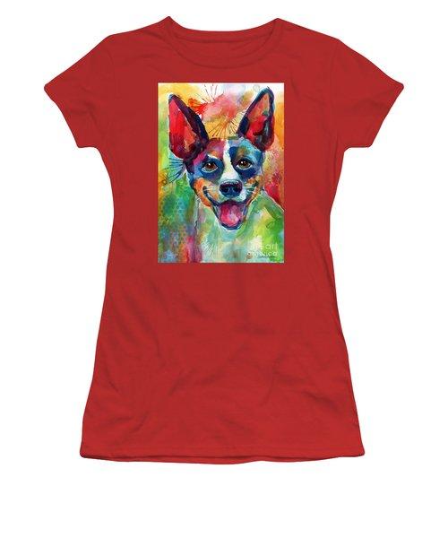 Whimsical Rat Terrier Dog Painting Women's T-Shirt (Junior Cut) by Svetlana Novikova